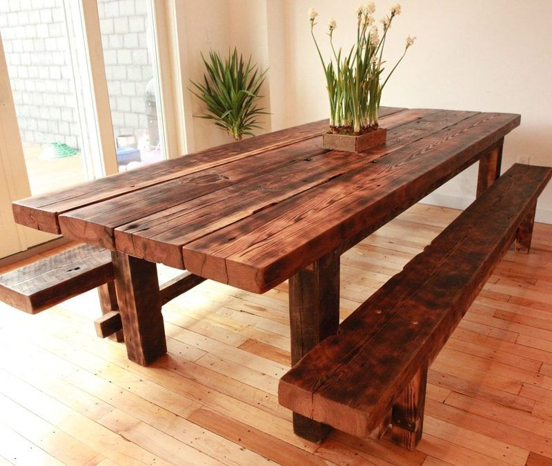 solid handmade dining table set table