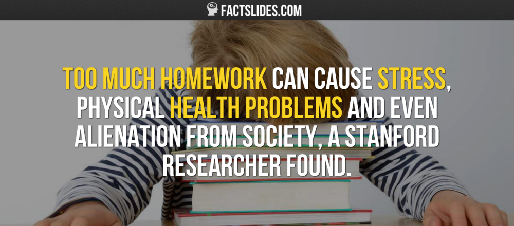 Too much homework can cause stress, physical health
