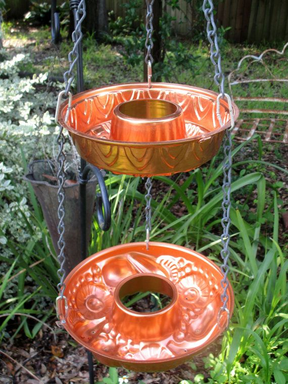 Bird feeder hanging planter upcycled copper jello mold hanging outdoor bird feeder planter - Gartendekoration kupfer ...