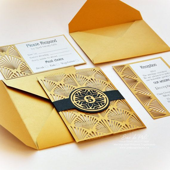 Wedding invitation, Card Set Template Retro Vintage Art Deco COVER - download invitation card