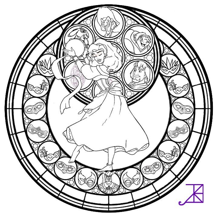 Disney Princess Esmeralda Coloring Pages Mulan Stained Glass Line Art