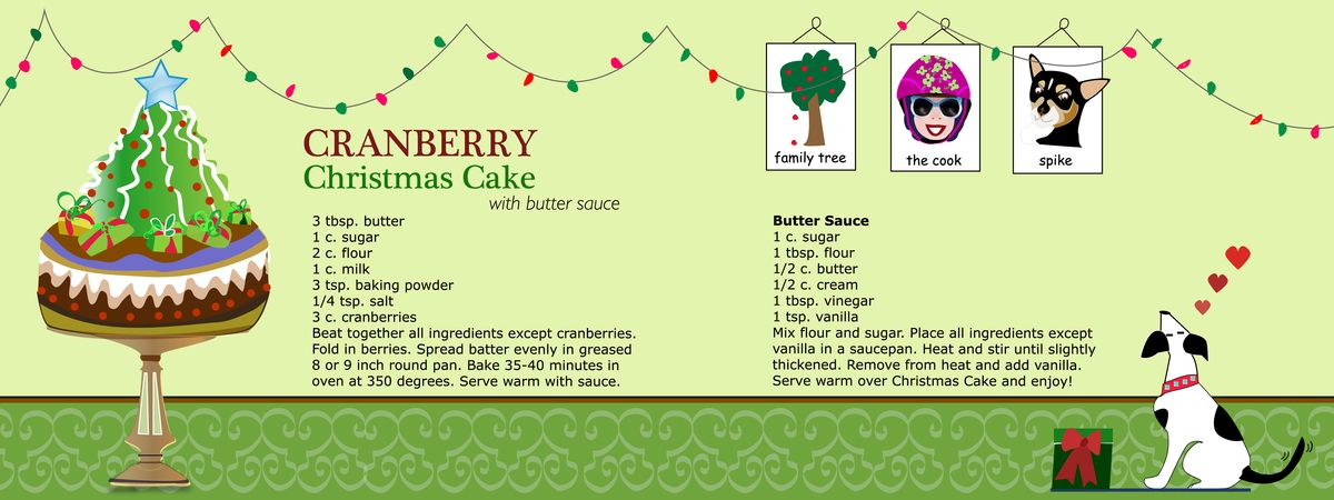 Cranberry Christmas Cake with Butter Sauce by Lauren McCrea