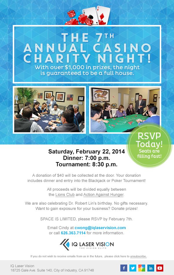 Looking for an event to play some #poker or #blackjack? Our 7th Annual #Casino Night, which benefits several #charities, is on Saturday, February 22nd. There are over $1,000 in prizes and all proceeds are donated to Lions Clubs International and Action Against Hunger USA. Space is limited so RSVP today! #IQLV #fundraiser