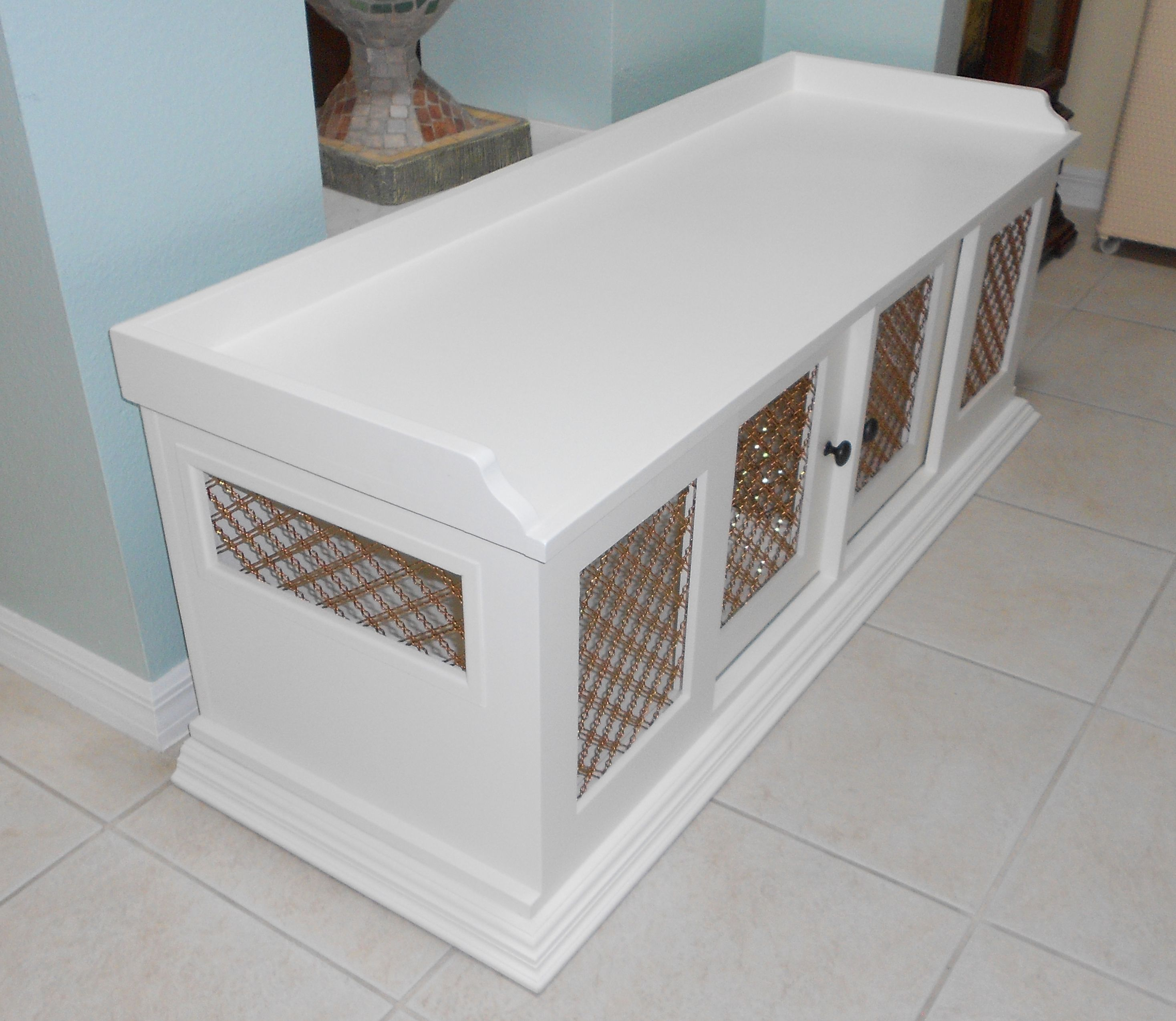 furniture pet crate. This Dog Crate Was Made Of Maple And Has Two Compartments . It Is Painted White Furniture Pet