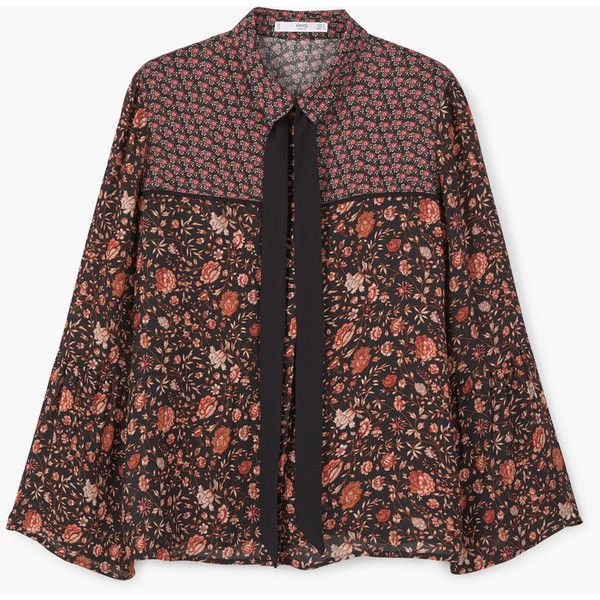 Floral Print Blouse (€18) ❤ liked on Polyvore featuring tops, blouses, flared sleeve top, round top, long bell sleeve tops, bell sleeve blouse and bow blouses