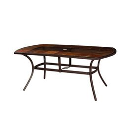 Lovely Allen Roth Safford Stone Top Brown Oval Patio Dining Table
