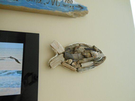 Driftwood Fish Wall Art Driftwood Seashell Fish Etsy Fish