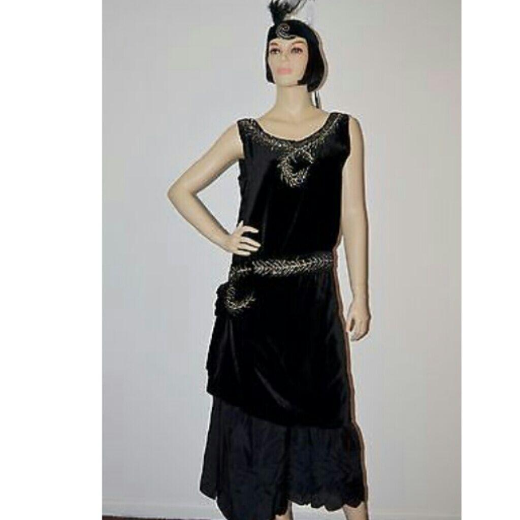 Vintage us black velvet flapper dress size med black velvet