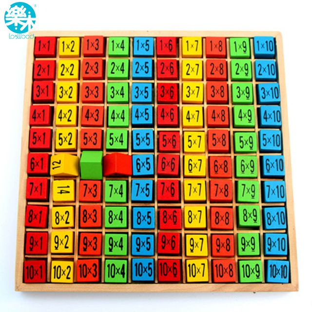 Baby wooden Toys 99 Multiplication Table Math Toy 10*10 Figure - multiplication table