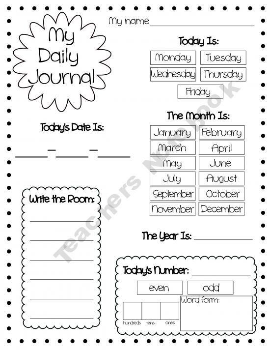 Daily Journal Handout Teaching Kindergarten Daily Journal Calendar Activities Daily calendar template for kindergarten