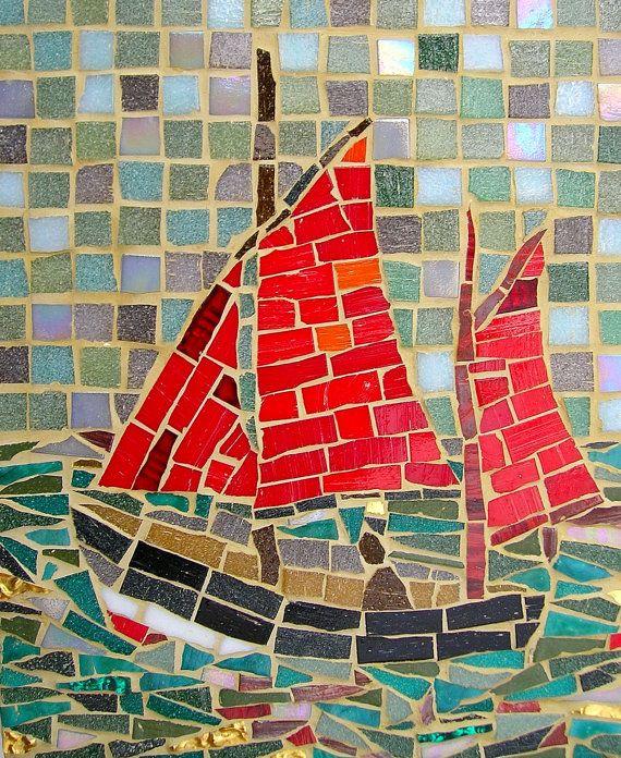 Sailing Ship Card - Greetings Card of Mosaic Sailing Boat #setinstains