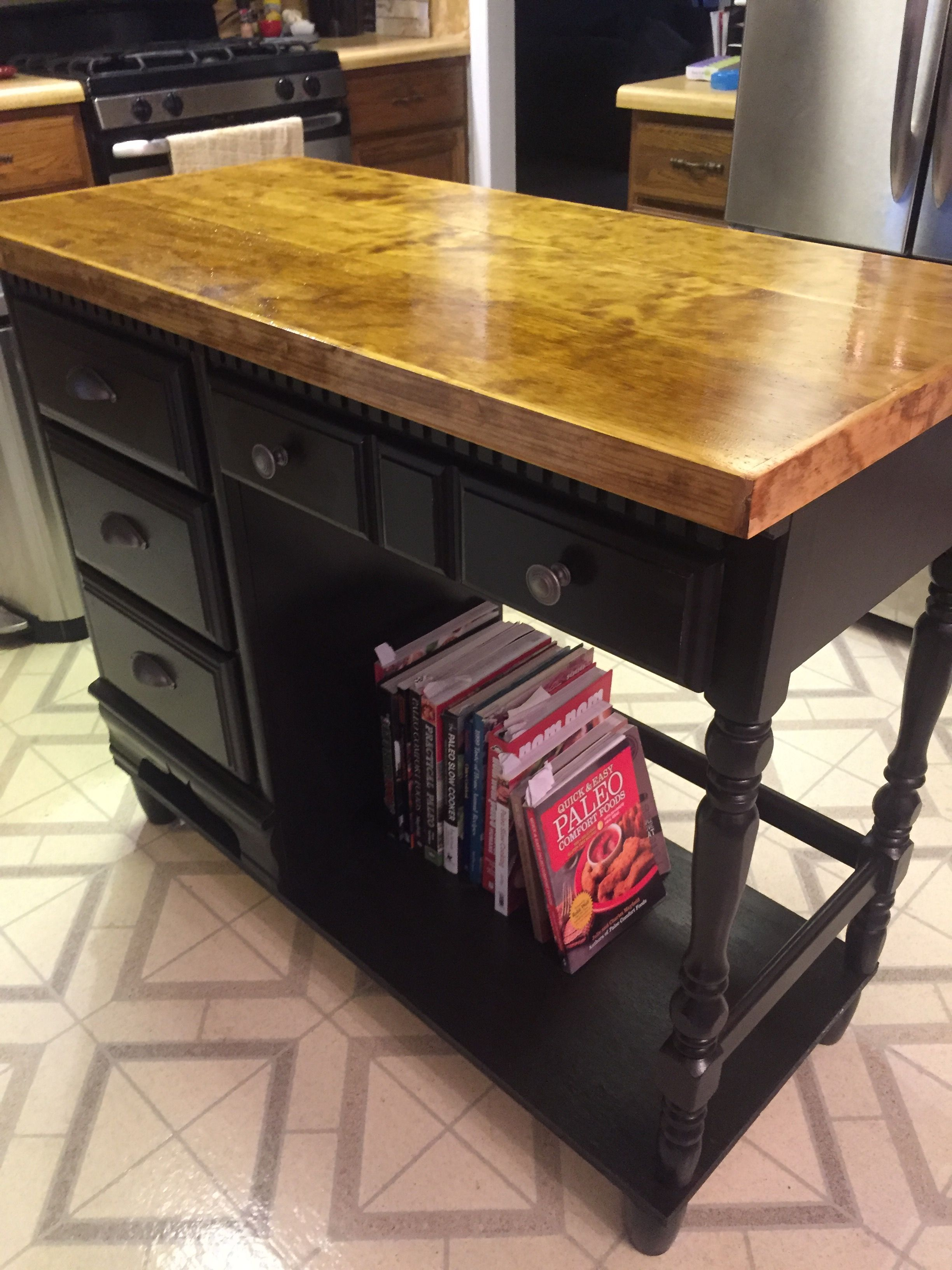 I repurposed a child\'s desk into a kitchen island! Love it ...