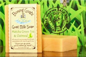 """Matcha green tea and Oatmeal"" Goat Milk Soap - 100% Natural ingredients in a soothing non-scented soap. Matcha green tea and oatmeal are coupled to create a soap that is ideal, if not perfect, for sensitive skin. While you can't drink the soap, you can drink-in the benefits of true Matcha green tea."