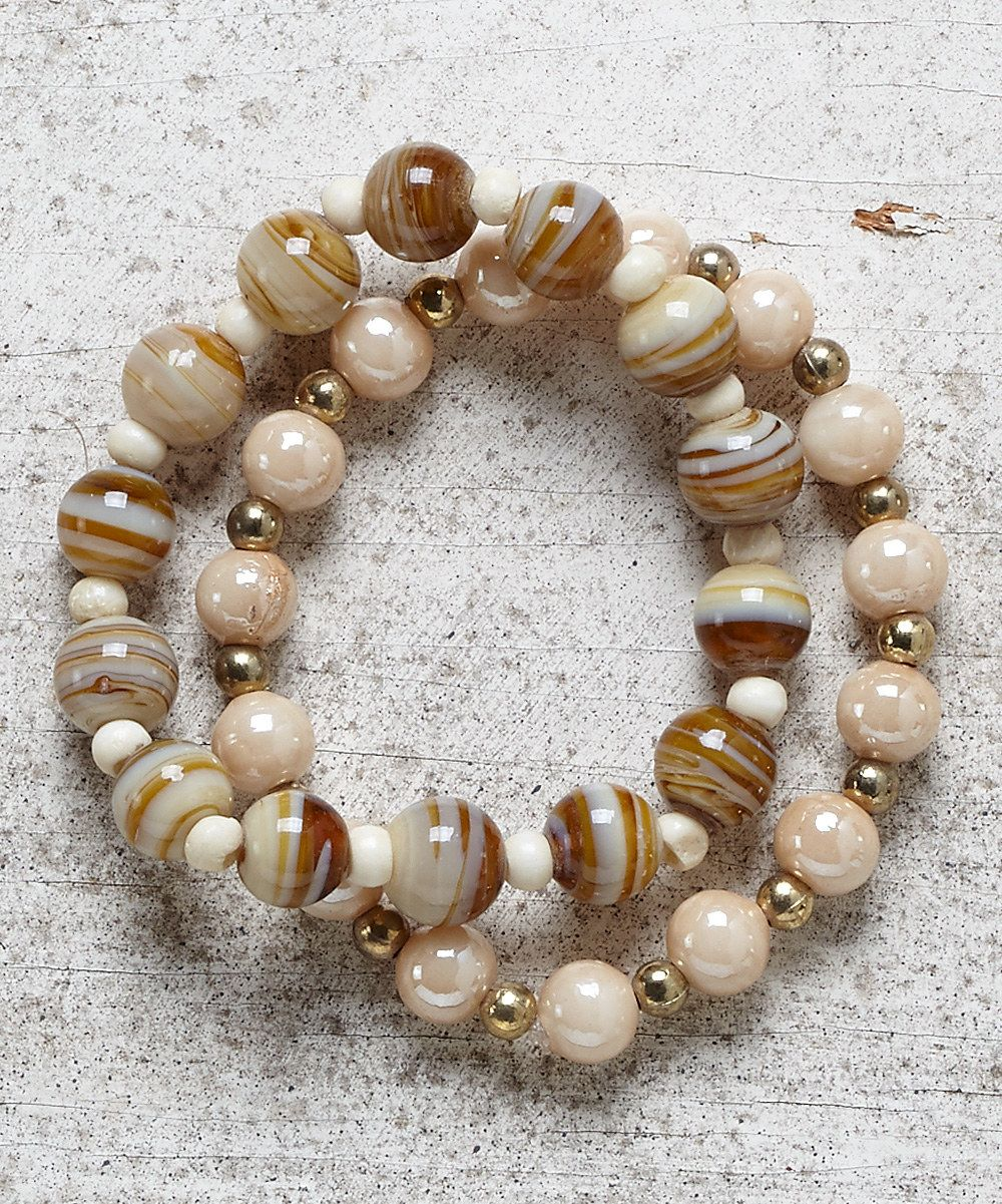 Look at this Brown Marble & Natural Beaded Stretch Bracelet Set on #zulily today!