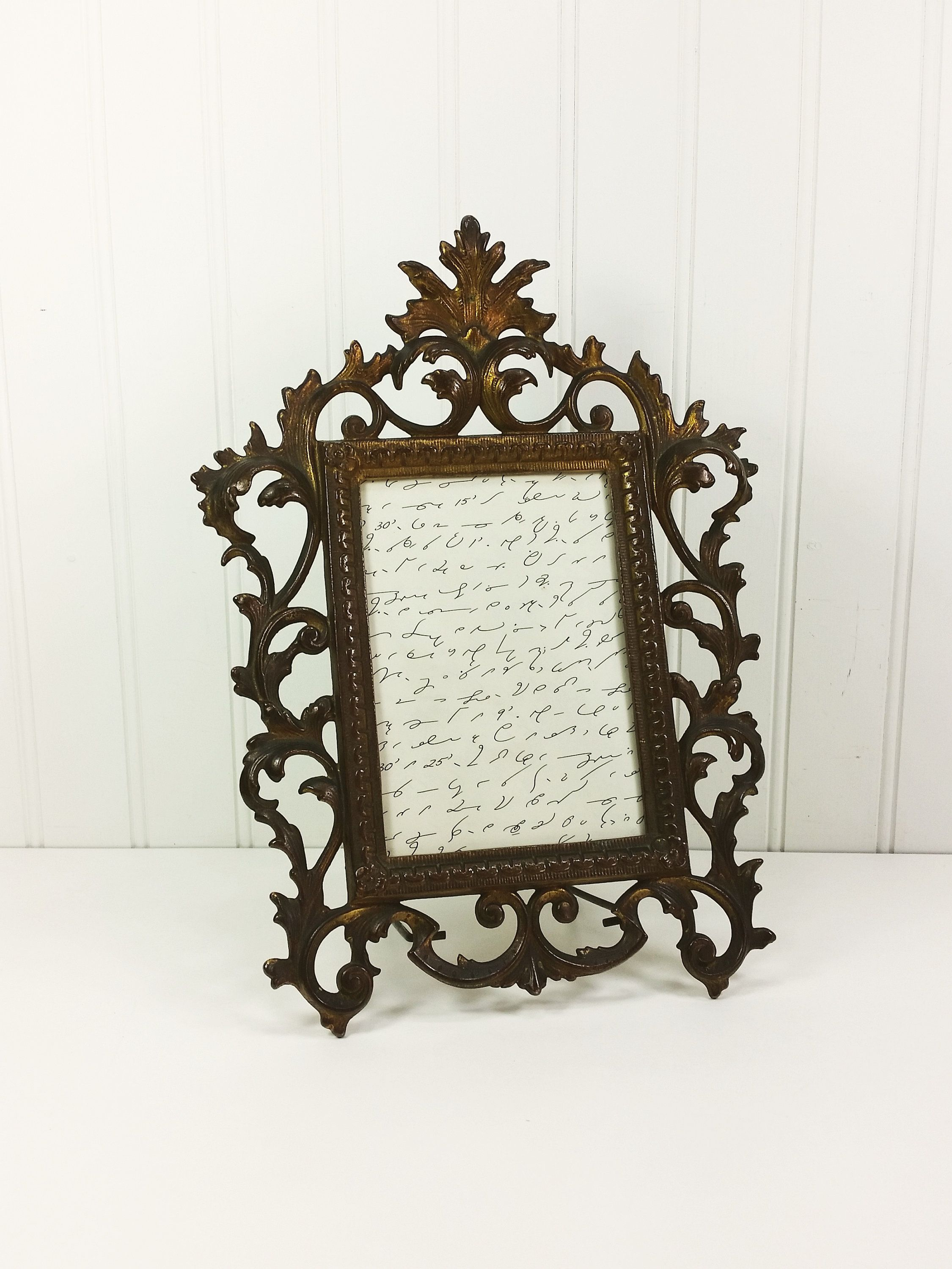 Antique Victorian Cast Metal Frame, Large Ornate Filigree