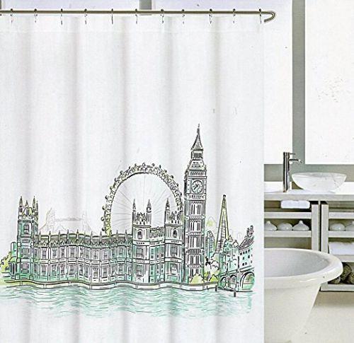 Cynthia Rowley Fabric Shower Curtain London 72x72 Blue Green