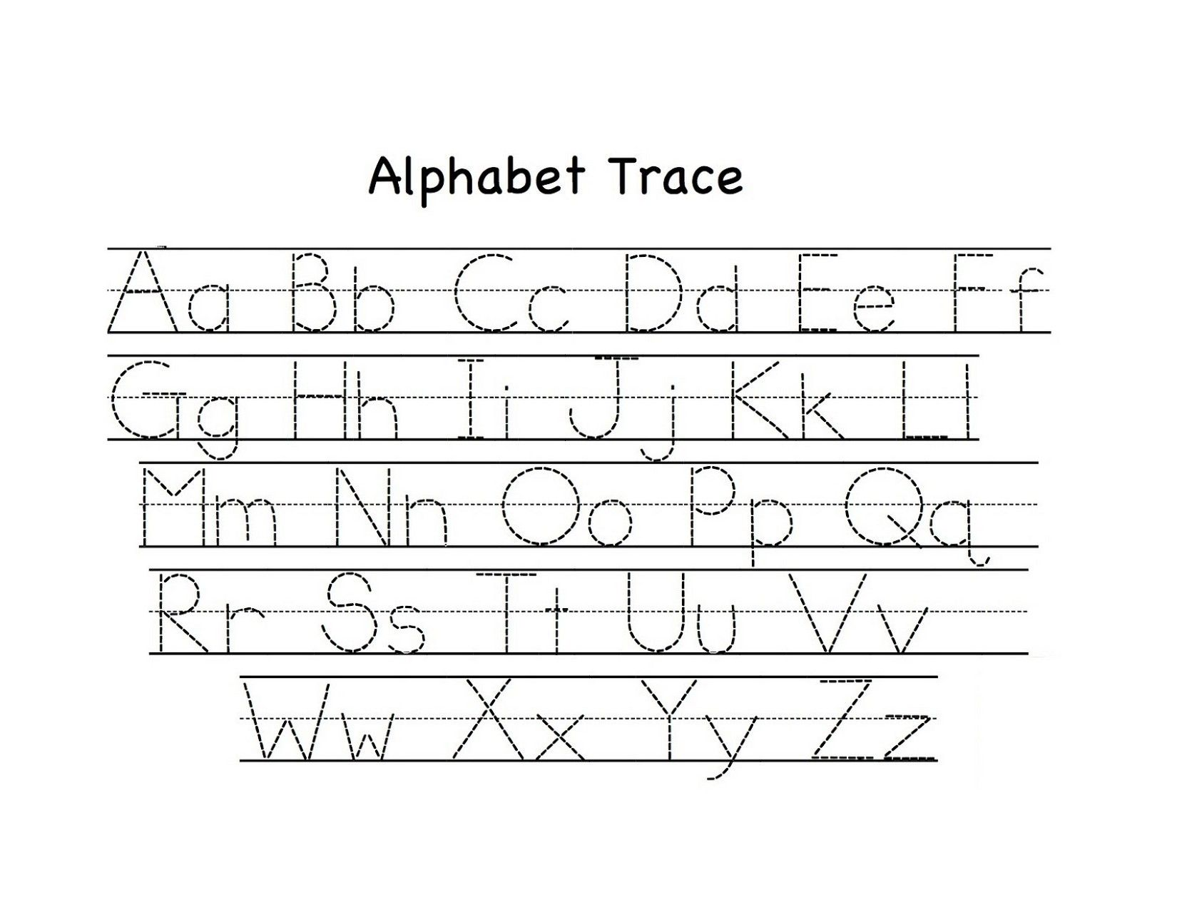 Traceable Upper and Lowercase Alphabet | Preschool tracing ...