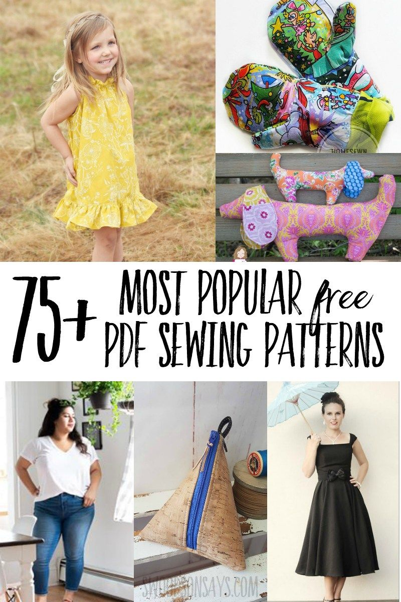 75+ most popular free PDF sewing patterns #beginnersewingprojects