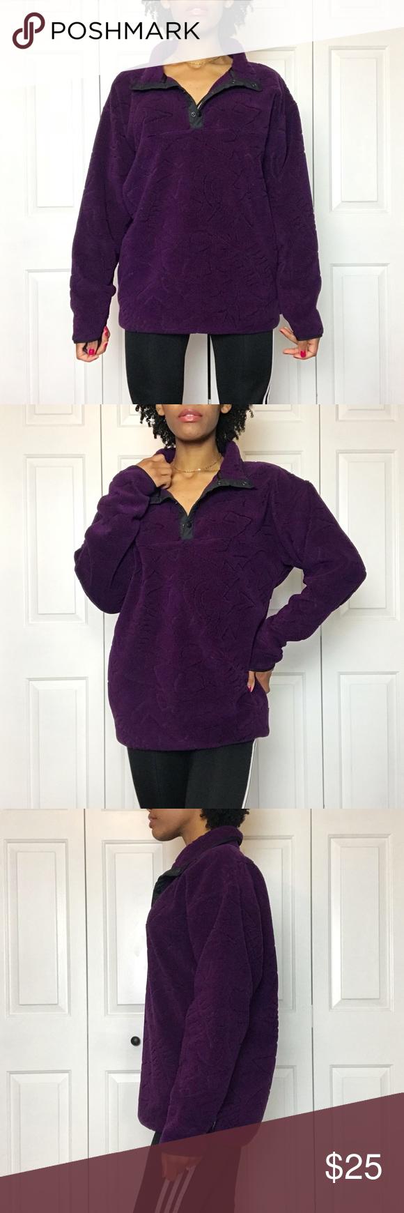 Us vintage grape purple snap button fleece my posh closet