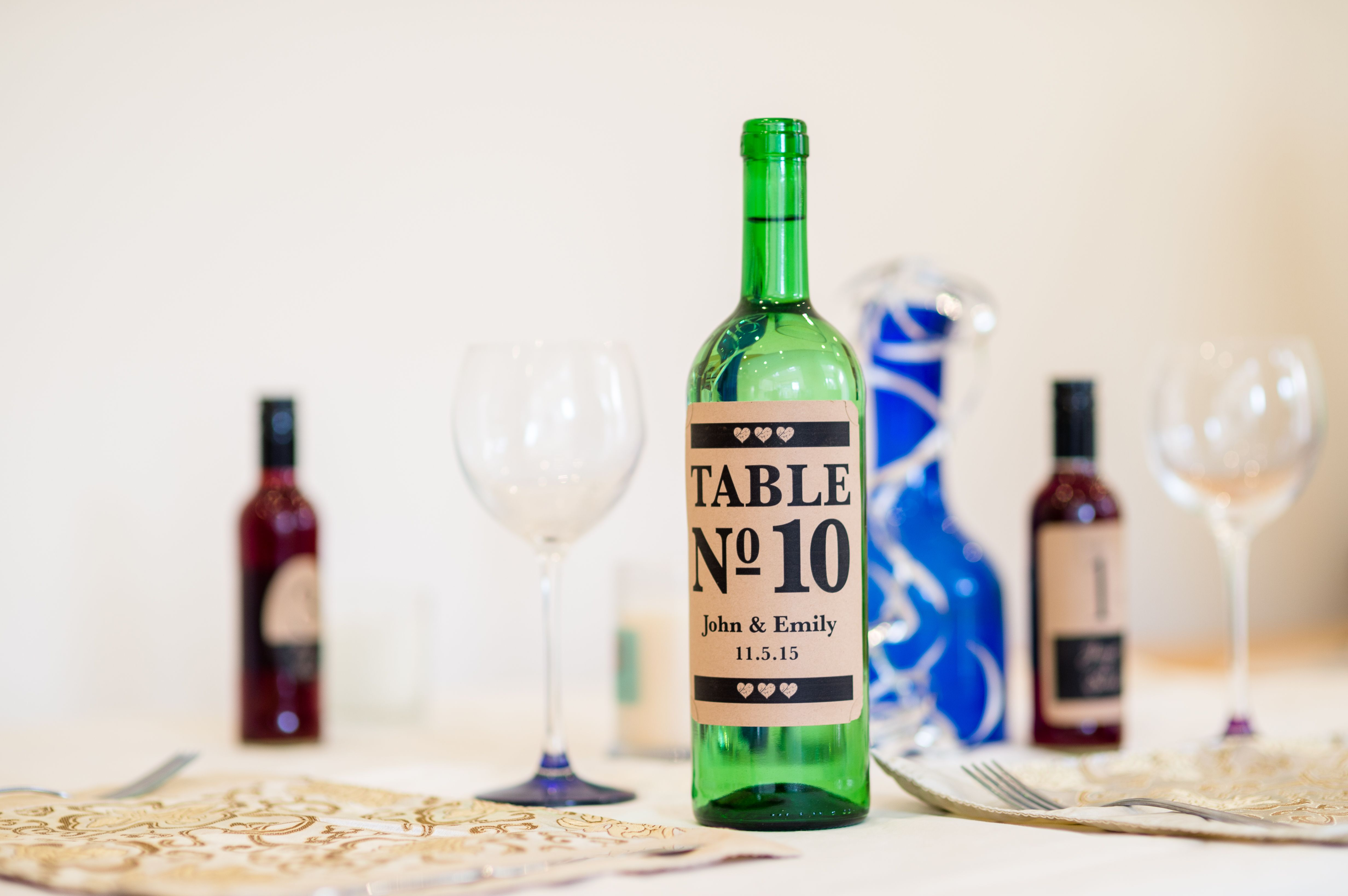 Create wedding table bottles! Put your table numbers or names on the ...