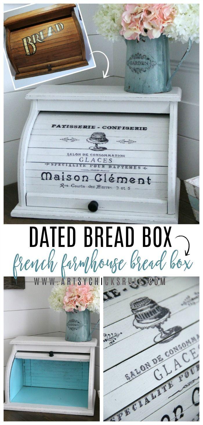 French Farmhouse Bread Box No Bread In This Box Artsy Chicks Rule Shabby Chic Kitchen Decor Chic Kitchen Decor Country House Decor