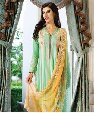 Chantilly Silk Chiffon Suit & Dupatta | I found an amazing deal at fashionandyou.com and I bet you'll love it too. Check it out!