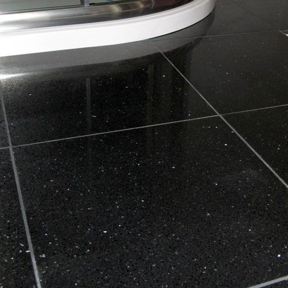 Quartz Star Stone Black 300mm X 300mm Glitter Floor White Sparkle Tiles White Vinyl Flooring