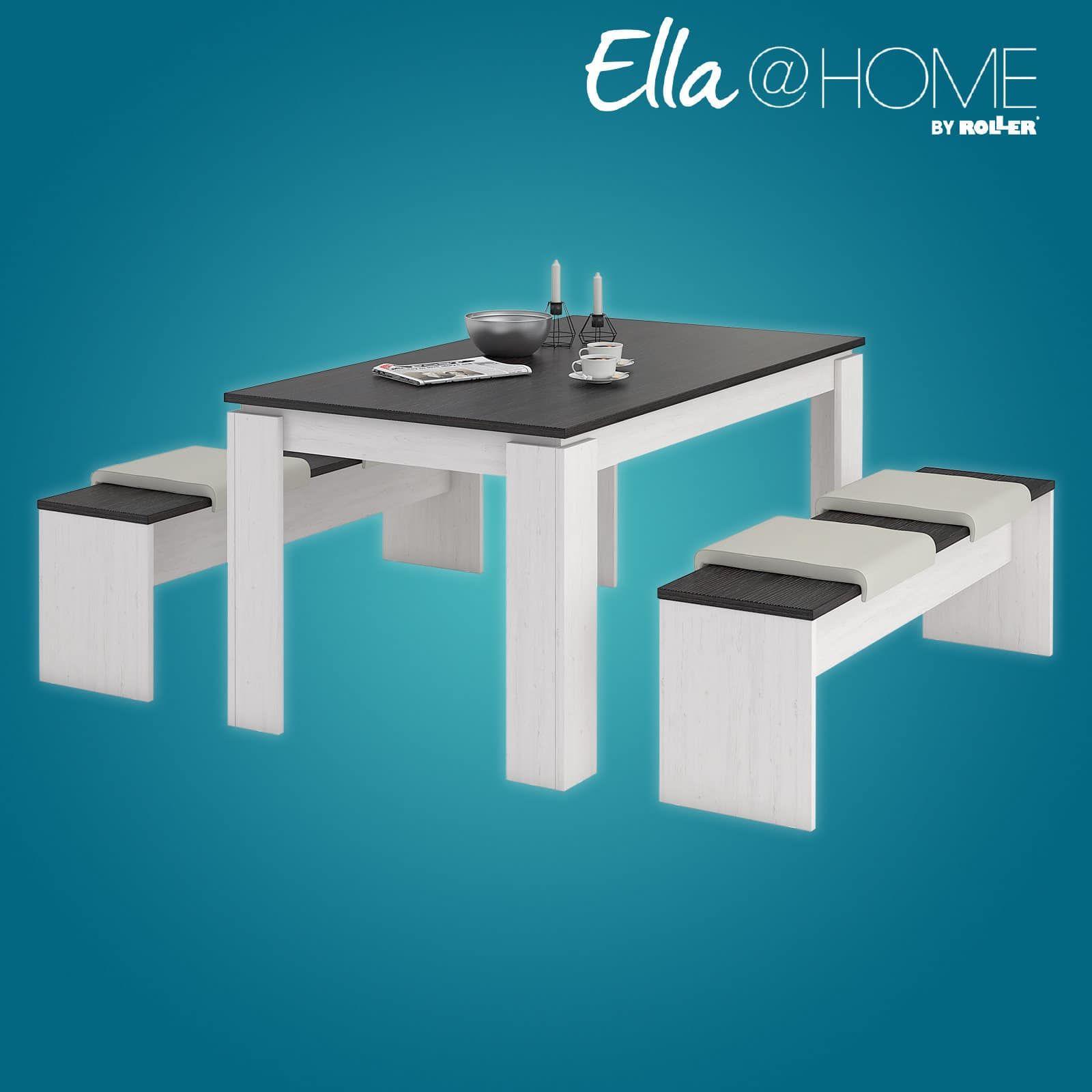 Tischgruppe MONTREAL   Pinie Weiß Wenge   3 Teilig 1 Tisch U0026 2