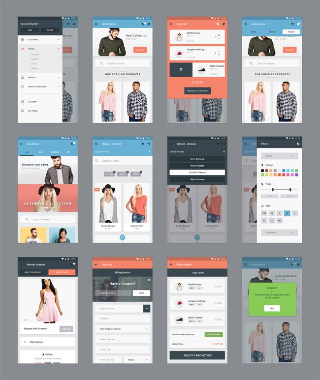 E-Commerce-App-UI-Kit-PSD | App Design Free Tools | Ecommerce app