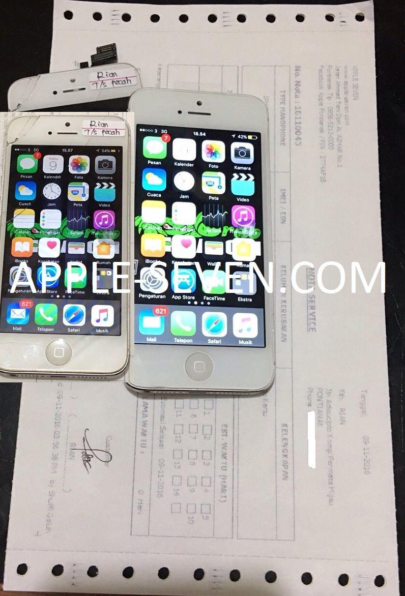 iPhone 5G Touchscreen pecah (Ganti LCD) atas nama Bapak Rian Jalan Adisucipto Komplek Permata Hijau Pontianak | Apple Pontianak
