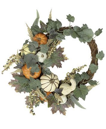 Martha Stewart Collection Harvest Asymmetrical Artificial Pumpkin Wreath, Created for Macy's & Reviews - Home - Macy's