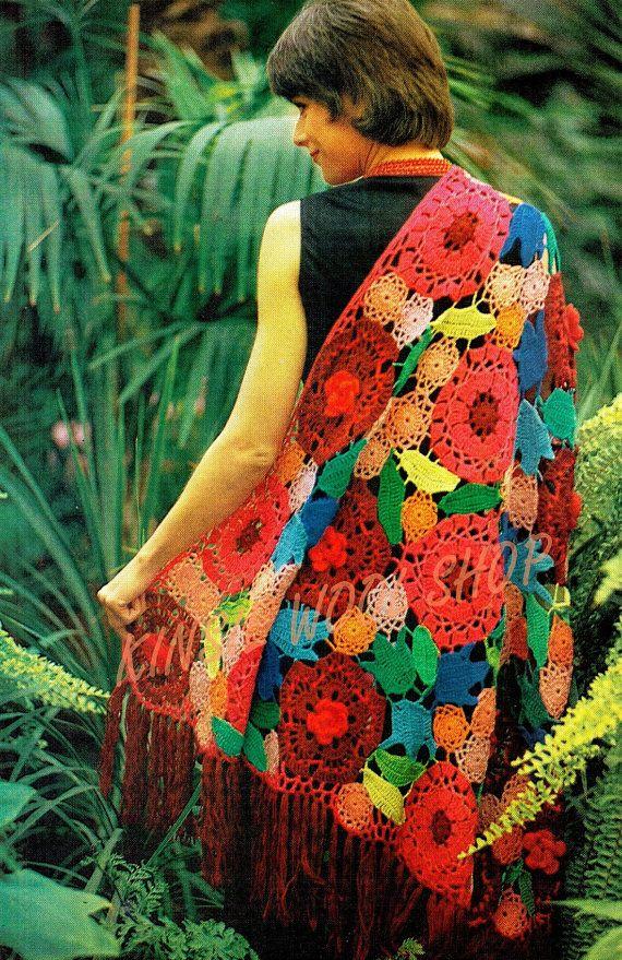 Pdf Crochet Pattern Vintage 70s Floral Shawl Pattern Retro Eco