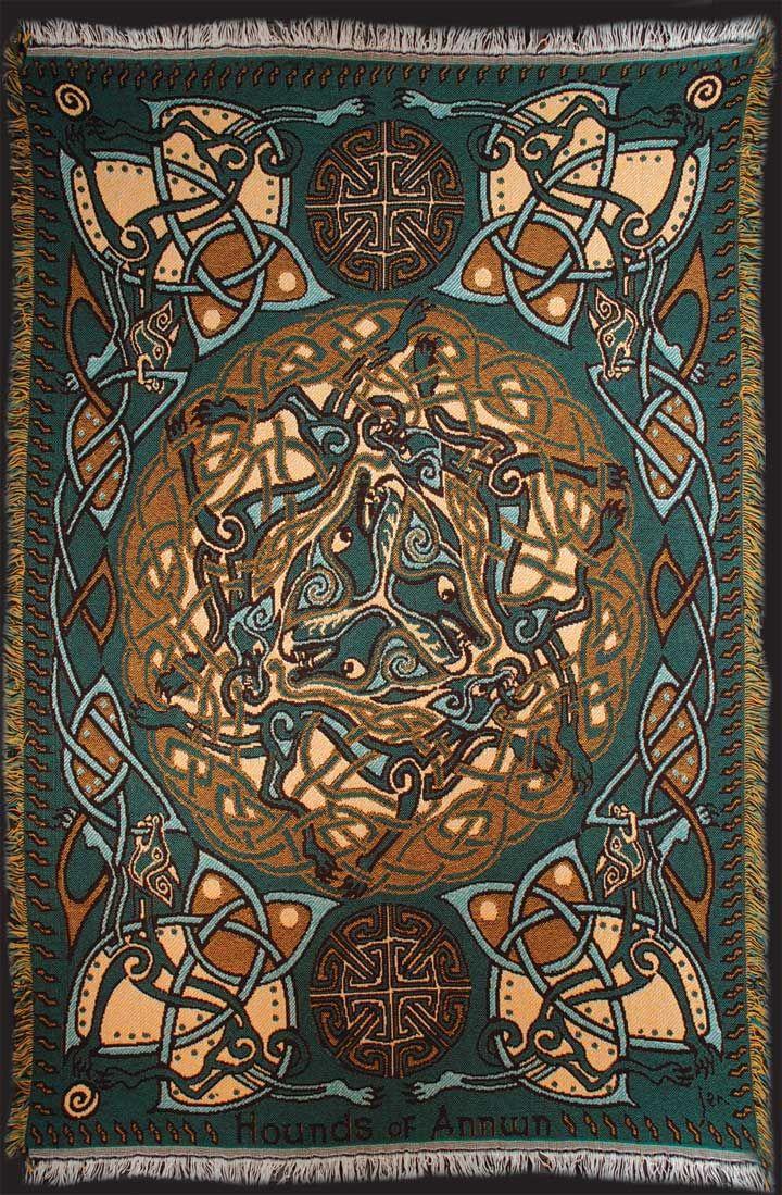 Owl greeting card set welsh artist jen delyth celtic art studio - Hounds Green Gold Afghan Throw By Welsh Artist Jen Delyth Celtic Art Studio