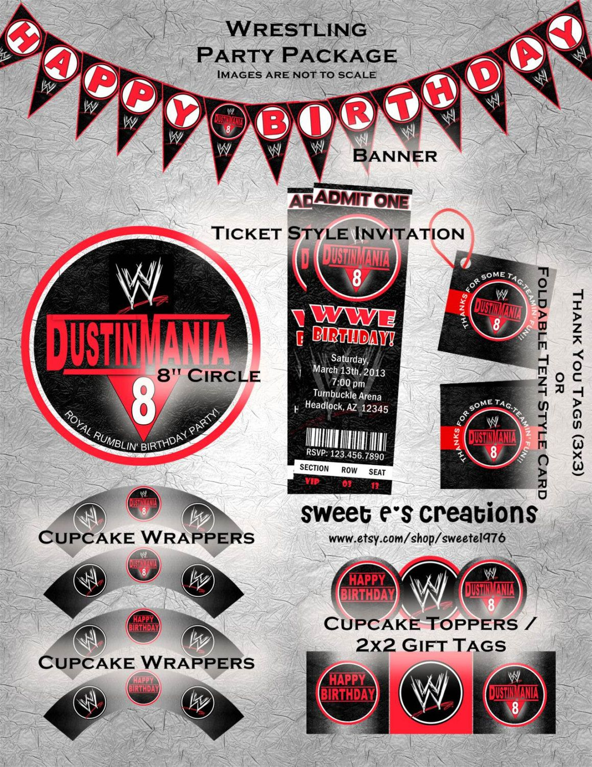 Printable wrestling party package includes ticket style invitation printable wrestling party package includes ticket style invitation and customized decorations digital file filmwisefo