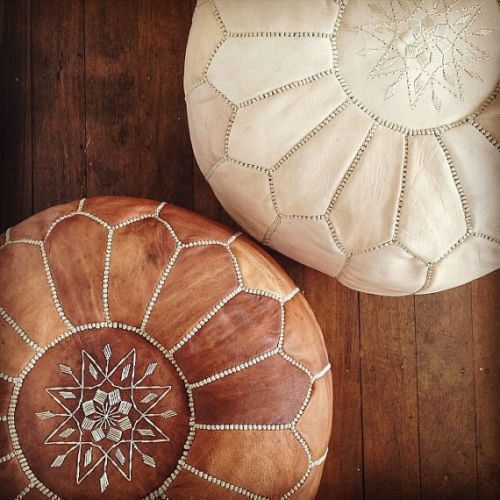 set of 2 handmade leather Moroccan poufs ottoman round footstool color brown Unstuffed
