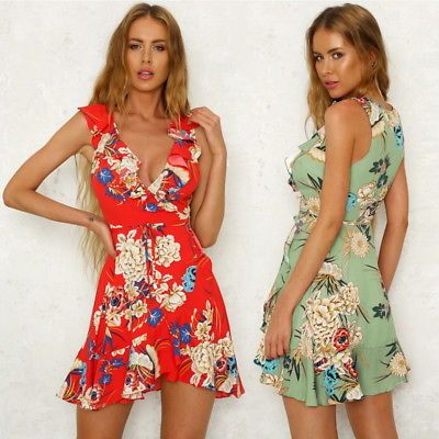 e1857597fa Sexy Summer Women Floral Sleeveless Dress Lady Ruffle Beach Casual Sundress  S-XL