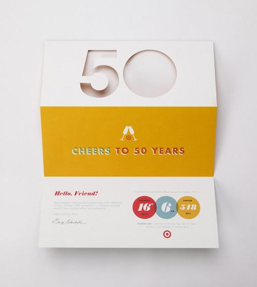 target 50th party invitation designed by allan peters design