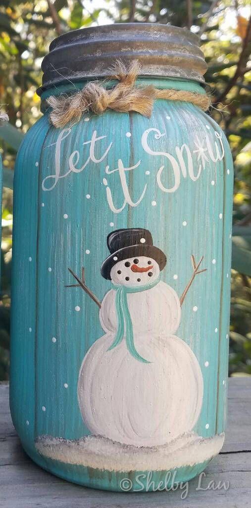 Photo of Pintado a mano Otoño 038 Invierno Mason Jar-Agradecido-Let it Snow ima