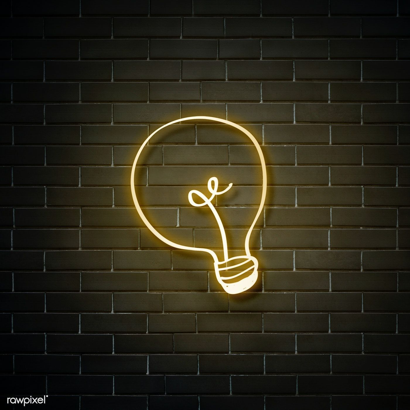 Neon yellow bulb on a walll free image by