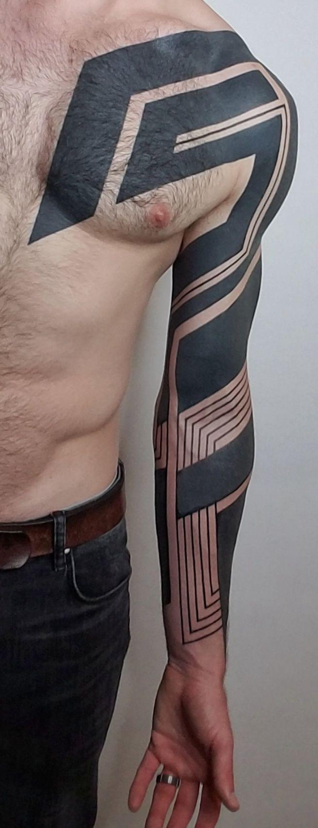 Freehand Geometric Blackwork by Ben Volt at Form8 Tattoo in San Francisco -   12 geometric tattoo men ideas