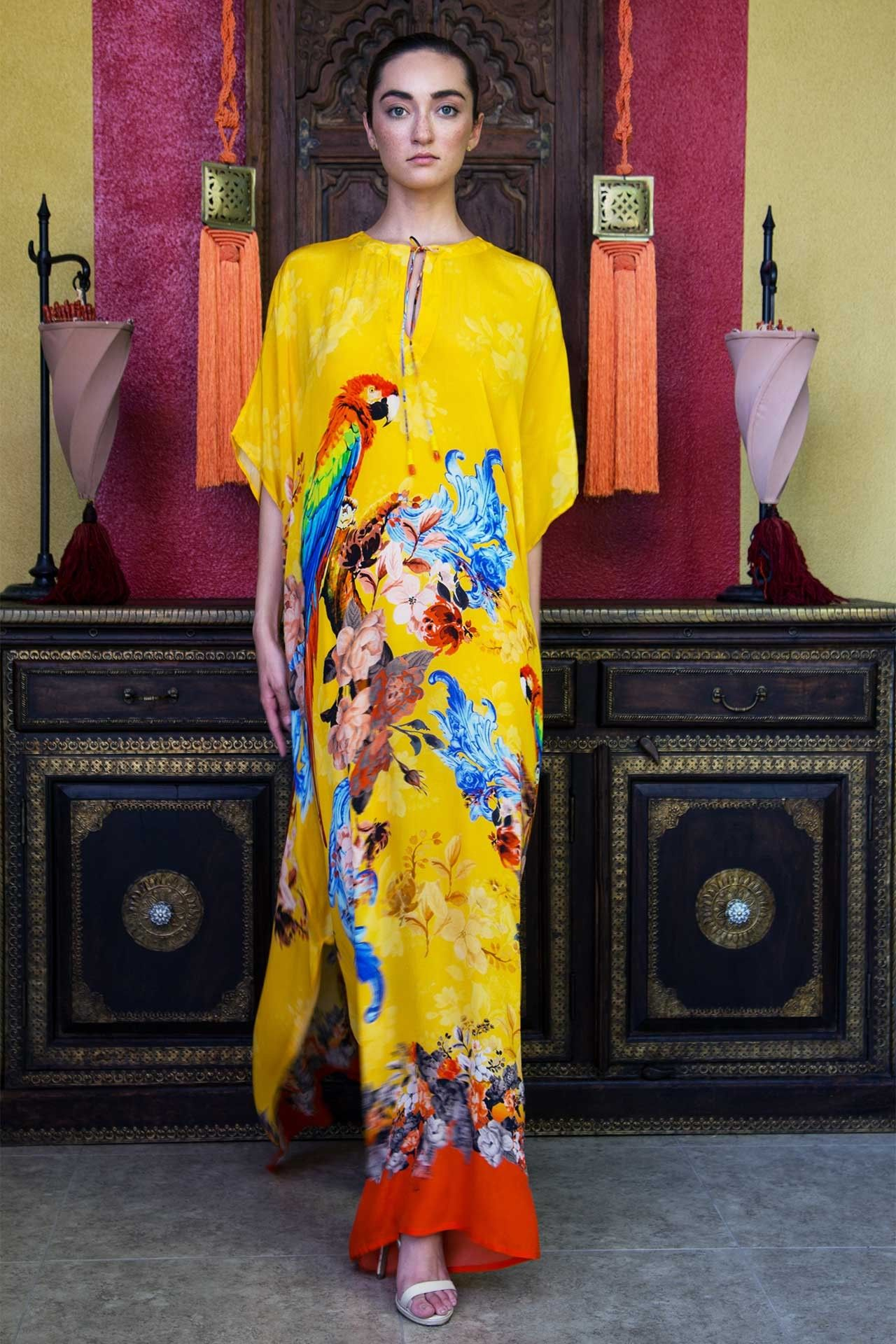 Shahidas Parides Long Kaftan Dress In Yellow Tropical Print. Find Silk  Kaftans 50% Off  19a592ccc