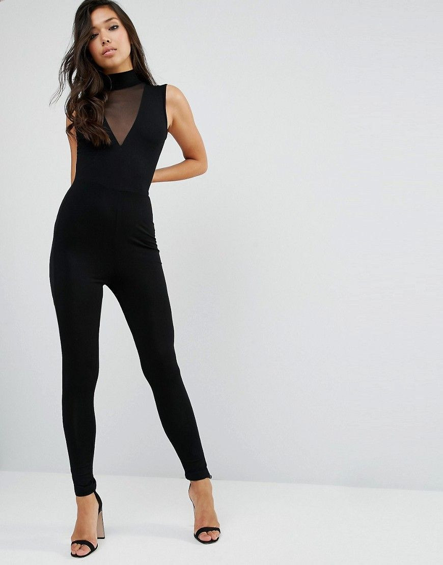 356a31e9184 ASOS Jersey Jumpsuit with High Neck and Mesh V Inserts - Black ...