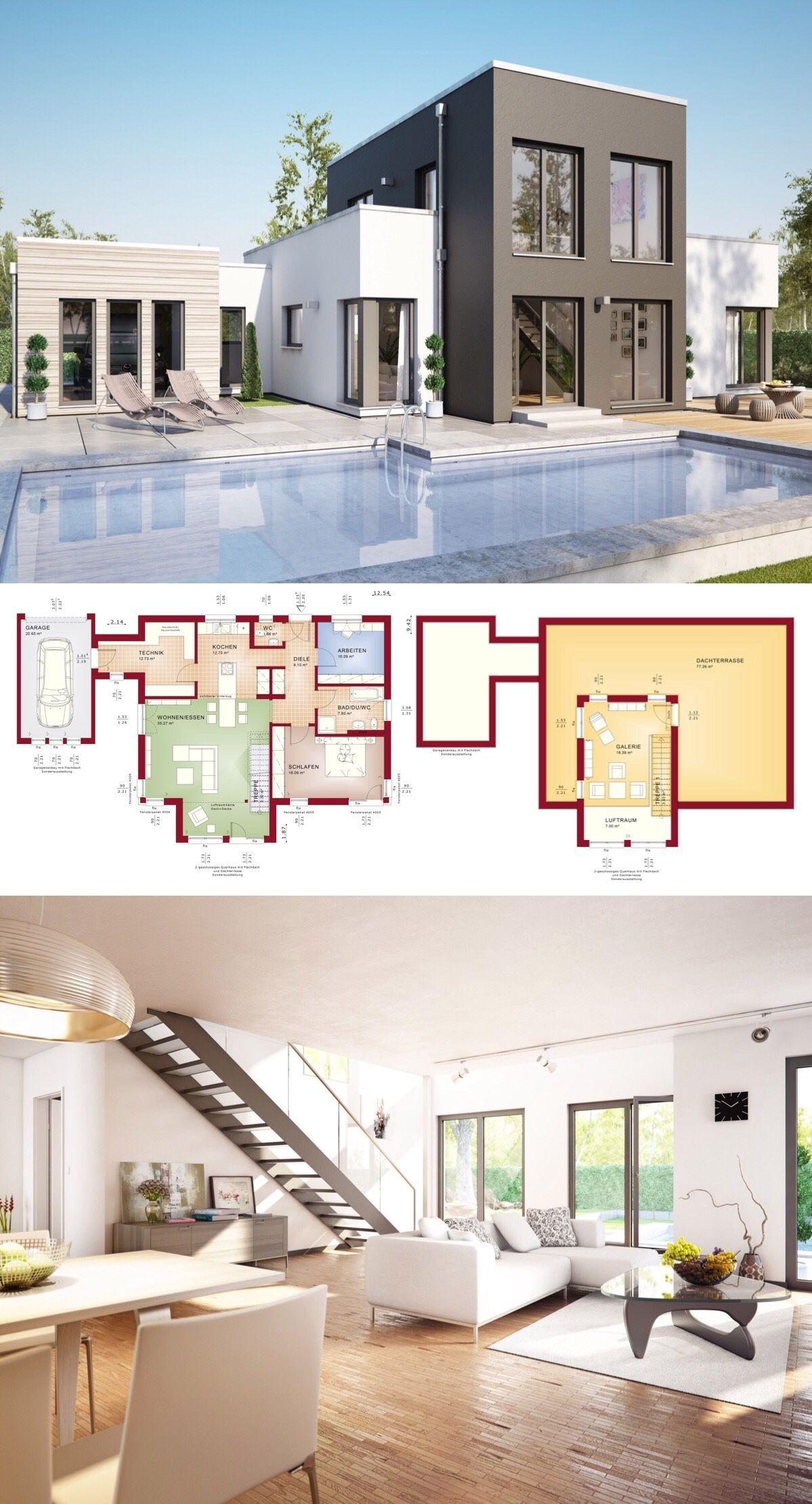 Bungalow Haus Design Mit Flachdach Architektur 4 Zimmer Grundriss Mit Garage Galerie Pool Terrasse Innenein Bungalow Haus Design Haus Design Haus Bungalow