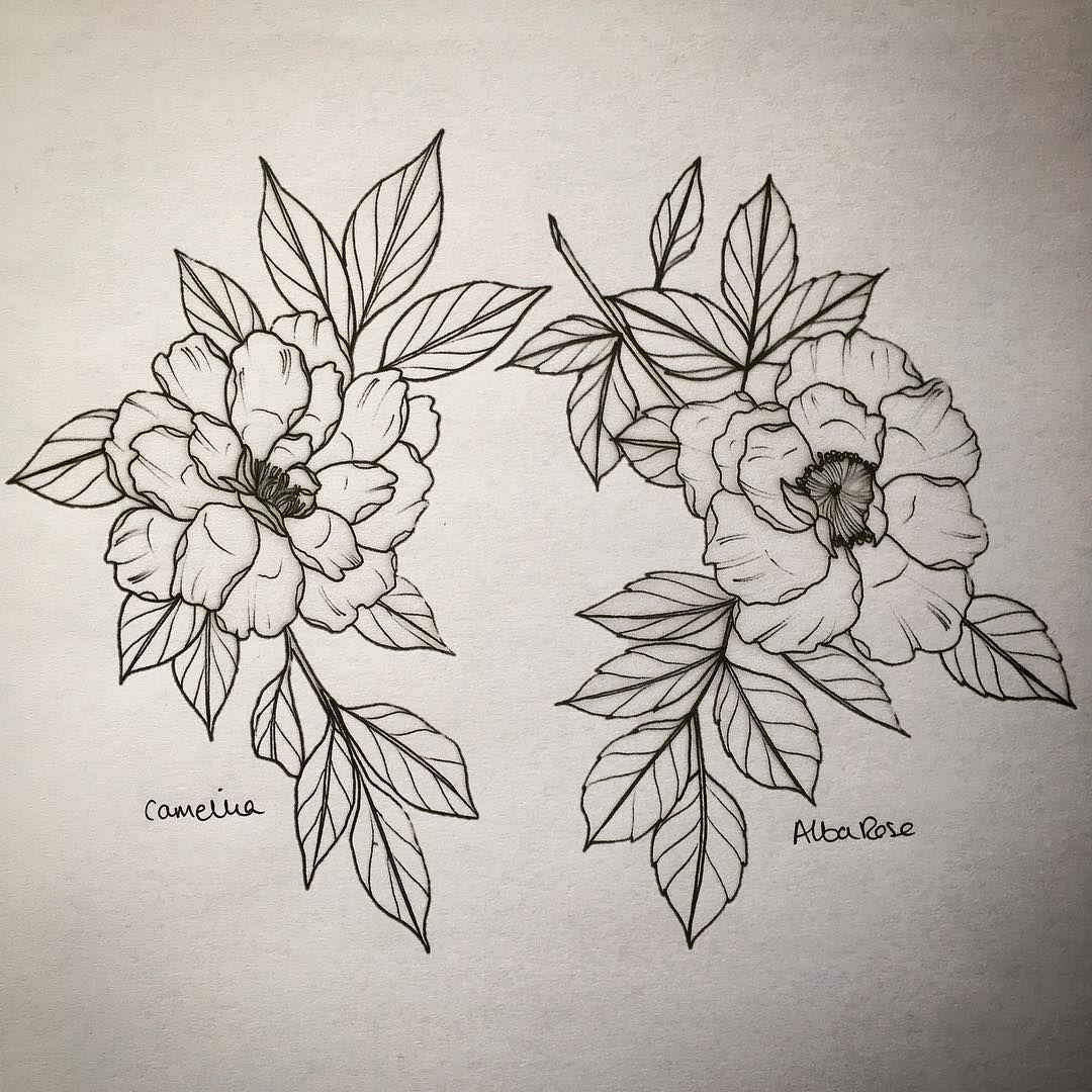 Camellia And Alba Rose Lydiatattoos On Instagram Flower Tattoo Flower Drawing Tattoos