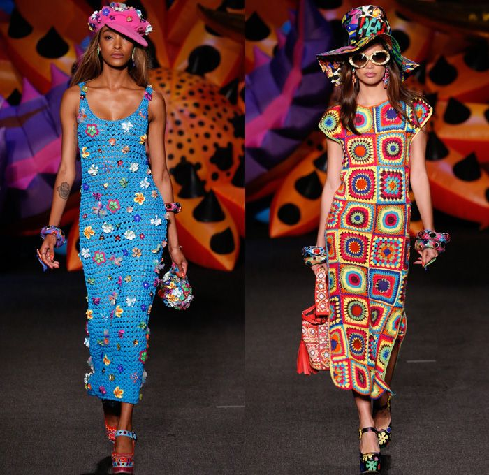 7a9a468228 Moschino 2017 Resort Cruise Pre-Spring Womens Runway Catwalk Looks  Collection - 1970s Seventies Hippie Tie-Dye Pop Art Animals Flowers Floral  Embroidery ...