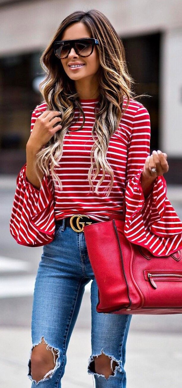 a6f33a3abc653 amazing ootd red top + ripped jeans + red bag