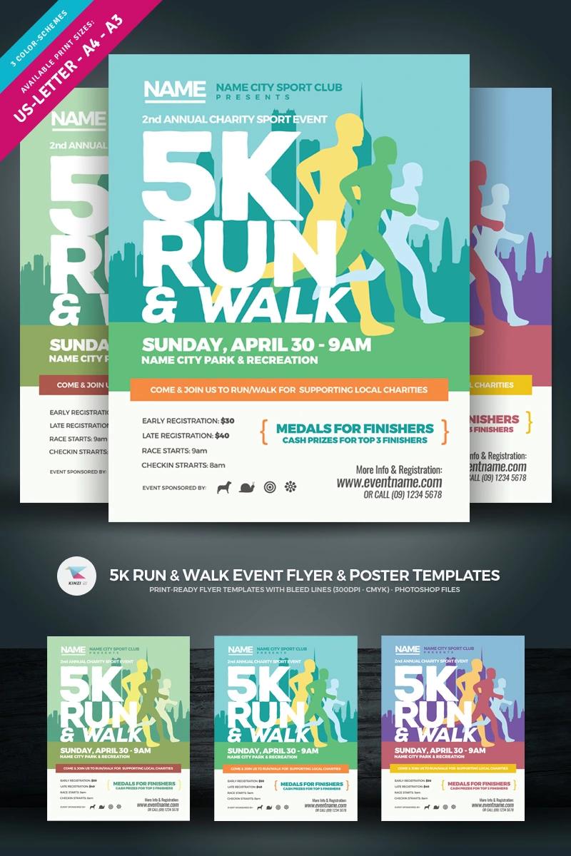 5k Run Walk Event Flyer Poster Corporate Identity Template Event Poster Event Flyer Event Poster Design