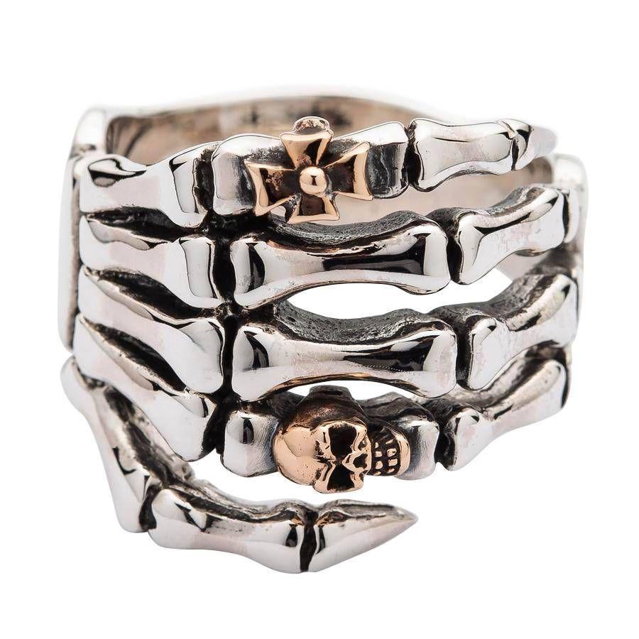 Silver Skull Skeleton Hand Mens Gothic Ring In 2020 Gothic Jewelry Rings Silver Skull Ring