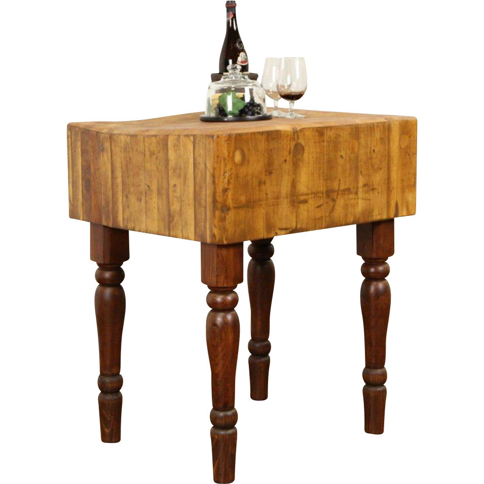 Butcher maple antique chopping block kitchen island wine table