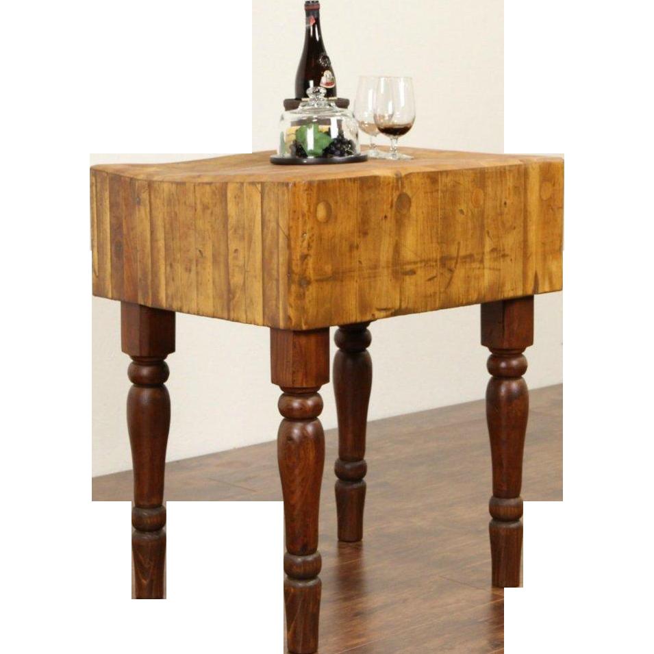 Butcher maple antique chopping block kitchen island wine table